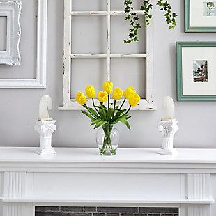 "15"" Tulip Artificial Arrangement in Oval Glass Vase, , rollover"