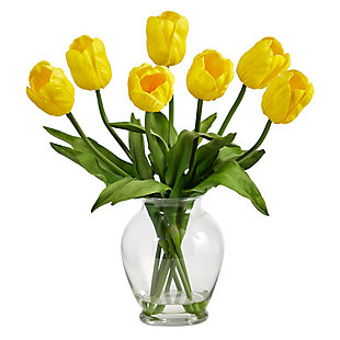 "15"" Tulip Artificial Arrangement in Oval Glass Vase, , large"