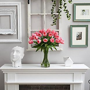 "26"" Giant Tulip Artificial Arrangement in Glass Cylinder Vase, , rollover"