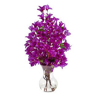 "22"" Bougainvillea Artificial Arrangement in Fluted Glass Vase, , large"