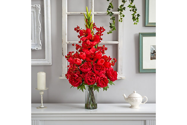 """37"""" Giant Gladiolus, Cherry Blossom, Tulips and Peony Artificial Arrangement in Glass Vase, , large"""