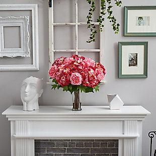 """23"""" Hydrangea and Peony Artificial Arrangement in Romanesque Glass Vase, , rollover"""