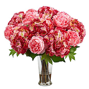 """23"""" Hydrangea and Peony Artificial Arrangement in Romanesque Glass Vase, , large"""