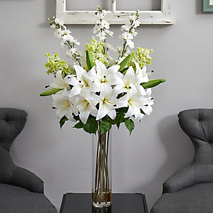 """39"""" Delphinium, Lilac and Lily Artificial Arrangement in Cylinder Glass Vase, , rollover"""