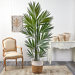 7' Kentia Artificial Palm in Handmade Natural Jute and Cotton Planter, , rollover