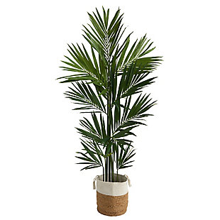 7' Kentia Artificial Palm in Handmade Natural Jute and Cotton Planter, , large