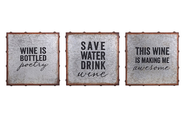 Home Accents Galvanized Wine Wall Decor (Set of 3), , large