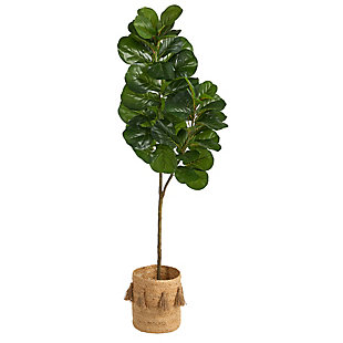 5.5' Fiddle Leaf Fig Artificial Tree in Handmade Natural Jute Planter with Tassels, , large