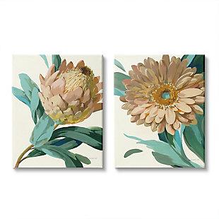 Stupell Industries  Garden Flower Details Minimal Green Tan Painting, 24 x 30, Canvas Wall Art, Tan, large