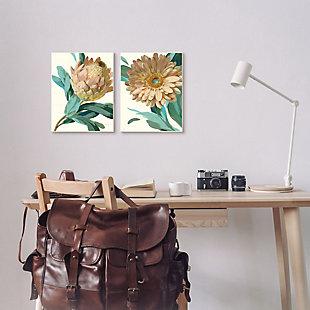 Stupell Industries  Garden Flower Details Minimal Green Tan Painting, 16 x 20, Framed Wall Art, Tan, rollover