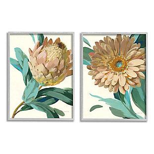 Stupell Industries  Garden Flower Details Minimal Green Tan Painting, 16 x 20, Framed Wall Art, Tan, large