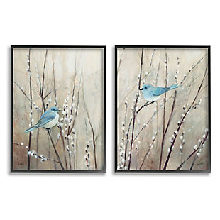 Stupell Industries  Peaceful Perched Blue Birds Animal Nature Painting, 16 x 20, Framed Wall Art, Tan, large