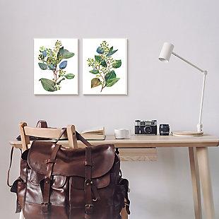Stupell Industries  Soft Eucalyptus Plant Blue Green Ombre Leaves, 16 x 20, Framed Wall Art, White, rollover