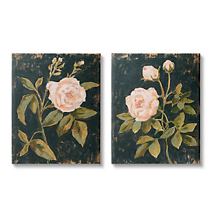 Stupell Industries  Enchanted Vintage Pink Rose Florals Distressed Black, 24 x 30, Canvas Wall Art, Gray, large