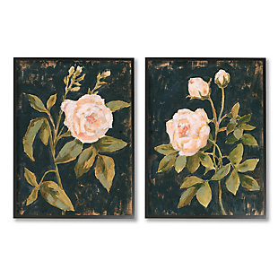 Stupell Industries  Enchanted Vintage Pink Rose Florals Distressed Black, 16 x 20, Framed Wall Art, Gray, large
