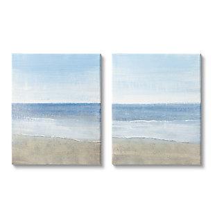 Stupell Industries  Coastal Seafoam Beach Waves Soft Tide Landscape, 24 x 30, Canvas Wall Art, Blue, large