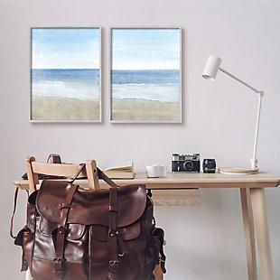 Stupell Industries  Coastal Seafoam Beach Waves Soft Tide Landscape, 16 x 20, Framed Wall Art, Blue, rollover