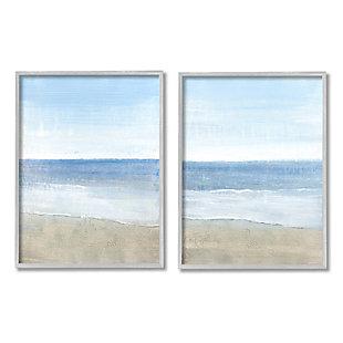 Stupell Industries  Coastal Seafoam Beach Waves Soft Tide Landscape, 16 x 20, Framed Wall Art, Blue, large