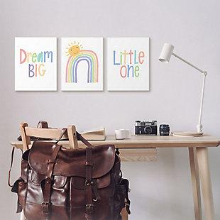Stupell Industries  Dream Big Little One Happy Sun Rainbow Illustration, 16 x 20, Framed Wall Art, White, rollover