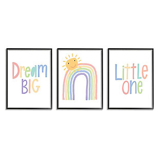 Stupell Industries  Dream Big Little One Happy Sun Rainbow Illustration, 16 x 20, Framed Wall Art, White, large
