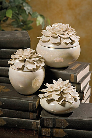 Blair Hand-sculpted Floral Boxes (Set of 3), , rollover
