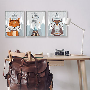 Stupell Industries  Be Clever Brave And Wise Phrases Forest Animal, 16 x 20, Framed Wall Art, Gray, rollover