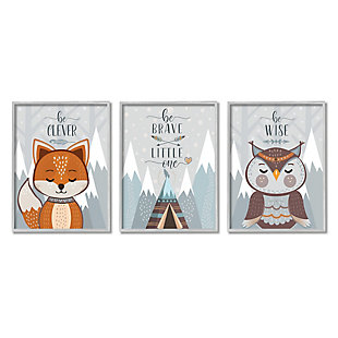 Stupell Industries  Be Clever Brave And Wise Phrases Forest Animal, 16 x 20, Framed Wall Art, Gray, large