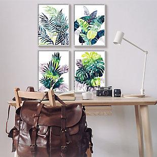 Stupell Industries  Various Tropical Palm Fans Green Blue Plants, 16 x 20, Framed Wall Art, Blue, rollover