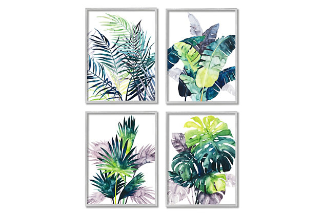 Stupell Industries  Various Tropical Palm Fans Green Blue Plants, 16 x 20, Framed Wall Art, Blue, large