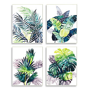 Stupell Industries  Various Tropical Palm Fans Green Blue Plants, 10 x 15, Wood Wall Art, , large