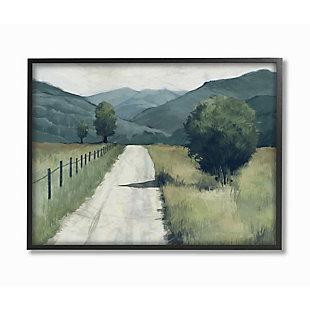 Stupell Industries Farmland Fields Green Blue Landscape Painting, 24 X 30, Framed Wall Art, Green, large