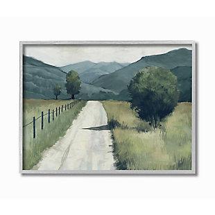 Stupell Industries  Farmland Fields Green Blue Landscape Painting, 16 x 20, Framed Wall Art, Green, large