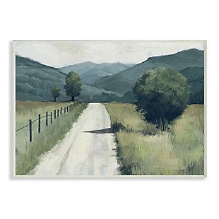 Stupell Industries  Farmland Fields Green Blue Landscape Painting, 13 x 19, Wood Wall Art, Green, large