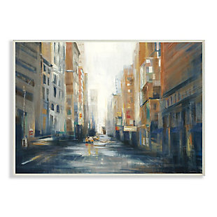 Stupell Industries  Cityscape Street After Rain Painting, 13 x 19, Wood Wall Art, Multi, large