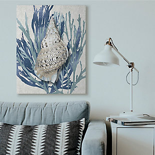 Stupell Industries  Shell Coral Blue Beach Design, 36 x 48, Canvas Wall Art, Blue, rollover