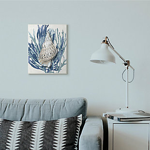 Stupell Industries  Shell Coral Blue Beach Design, 13 x 19, Wood Wall Art, Blue, rollover