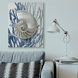 Stupell Industries  Shell Coral Beach Blue Design, 36 x 48, Canvas Wall Art, Blue, rollover