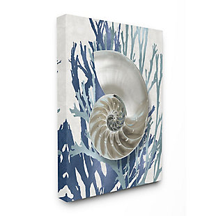 Stupell Industries  Shell Coral Beach Blue Design, 36 x 48, Canvas Wall Art, Blue, large