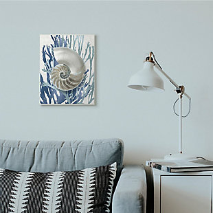 Stupell Industries  Shell Coral Beach Blue Design, 13 x 19, Wood Wall Art, Blue, rollover