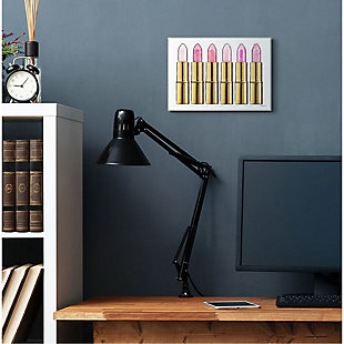 Stupell Industries  Pink Gold Lipstick Glam Fashion Watercolor, 13 x 19, Wood Wall Art, Pink, rollover