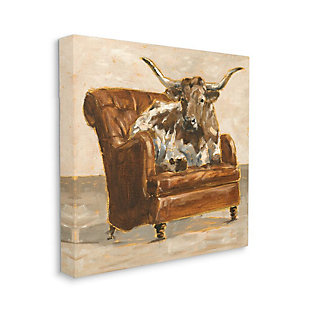 Stupell Industries  Abstract Bull Livingroom Chair Brown Orange Painting, 36 x 36, Canvas Wall Art, Brown, large