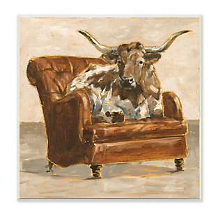 Stupell Industries  Abstract Bull Livingroom Chair Brown Orange Painting, 12 x 12, Wood Wall Art, , large