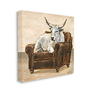 Stupell Industries  White Bull Resting in Brown Chair Abstract Painting, 36 x 36, Canvas Wall Art, Brown, large