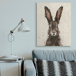 Stupell Industries  Brown European Rabbit Hare Portrait Painting, 36 x 48, Canvas Wall Art, Brown, rollover