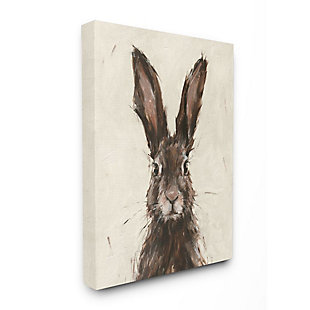 Stupell Industries  Brown European Rabbit Hare Portrait Painting, 36 x 48, Canvas Wall Art, Brown, large