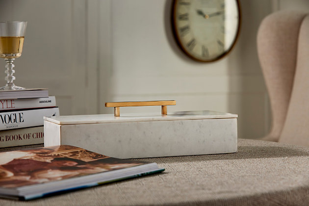 Keely Marble Lidded Box, , large