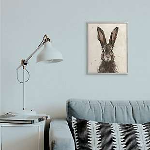 Stupell Industries  Brown European Rabbit Hare Portrait Painting, 16 x 20, Framed Wall Art, Brown, rollover