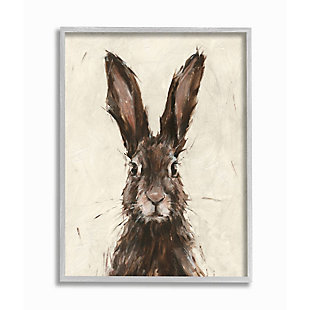 Stupell Industries  Brown European Rabbit Hare Portrait Painting, 16 x 20, Framed Wall Art, Brown, large