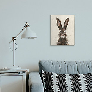 Stupell Industries  Brown European Rabbit Hare Portrait Painting, 13 x 19, Wood Wall Art, Brown, rollover
