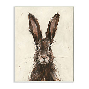 Stupell Industries  Brown European Rabbit Hare Portrait Painting, 13 x 19, Wood Wall Art, Brown, large